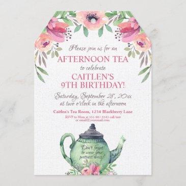 tea party floral tea pot birthday invitation