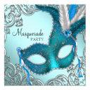 teal blue and silver mask masquerade party invitations