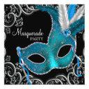 teal blue black masquerade party invitations