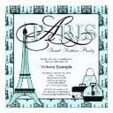 teal blue black paris sweet 16 birthday party invitations