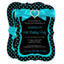 teal blue bow black polka dots birthday party invitations