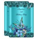 teal blue butterfly floral black lace birthday invitation