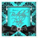 teal blue damask silver black birthday party invitation