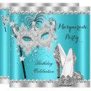 teal blue masquerade mask hi heels birthday party invitations