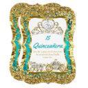 teal blue quinceanera magical tiara gold 2 invitation