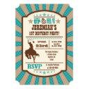 teal cowboy rodeo birthday party invitation
