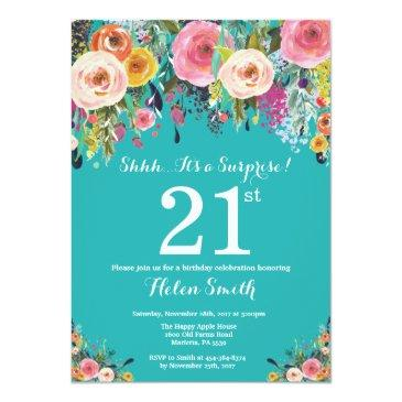 Teal Floral Surprise 21st Birthday Invitations