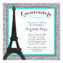 teal glam paris faux silver glitter quinceanera invitation