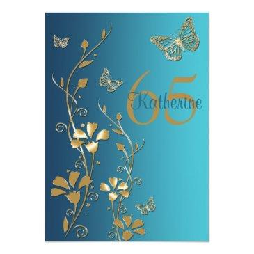 teal, gold flowers & butterflies 65th invitations