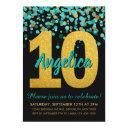 teal gold glitter confetti black 10th birthday invitation