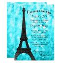 teal paris bokeh glitter lights quinceañera invitations
