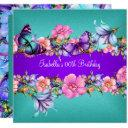 teal purple blue pink butterfly birthday party 2 invitation