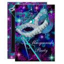 teal & purple masquerade ball party invitation sml