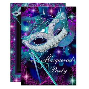 teal & purple masquerade ball party invitations sml