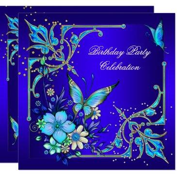 teal royal blue butterfly birthday party invitations