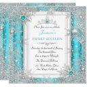 teal silver winter wonderland sweet 16 snowflake invitations