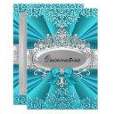 teal tiara damask quinceanera party invite