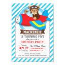 teddy bear pilot in red toy airplane; blue stripes invitations