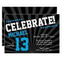 teen boy birthday invitations-any year, blue invitations