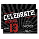 teen boy birthday invitation-any year, red invitation