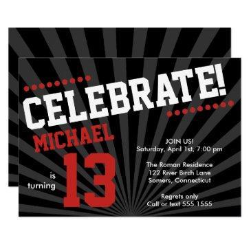 teen boy birthday invitations-any year, red invitations