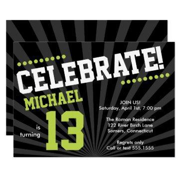teen boy birthday invitations, lime green and black invitations