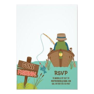 Small The Big One Fishing Theme Boys First Birthday Invitations Back View