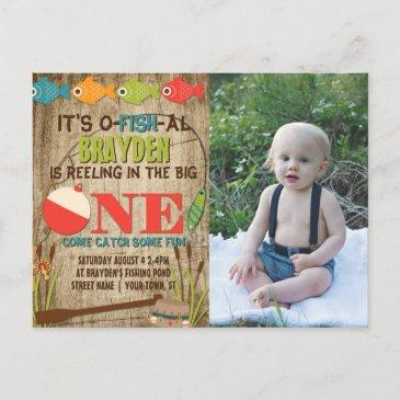 the big one fishing theme boys first birthday invitation postinvitations