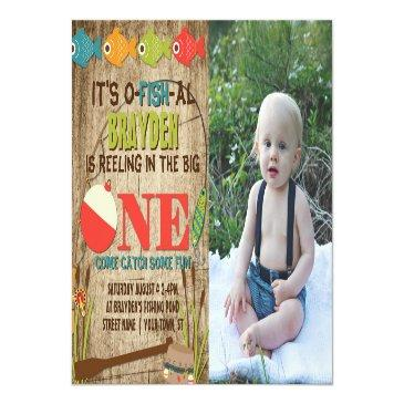 Small The Big One Fishing Theme Boys First Birthday Invitation Postinvitations Front View