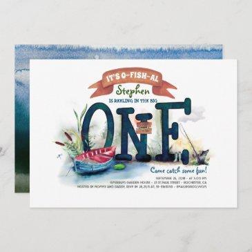 the big one fishing themed boys first birthday invitation