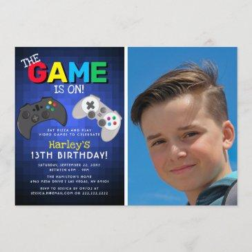 the game is on! photo | video game birthday invitation