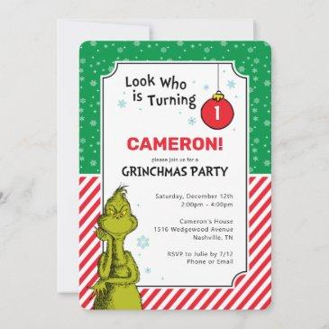 the grinch red and green snowflake 1st birthday
