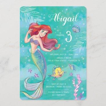 the little mermaid | watercolor birthday invitation