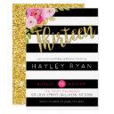 thirteen 13th birthday black white stripe invitation