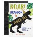 three-rex, dinosaur, boy, third birthday invitations