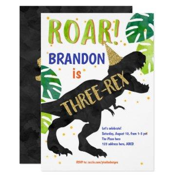 three-rex, dinosaur, boy, third birthday invitation