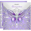 tiara quinceanera 15th diamonds purple butterfly invitations