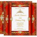 tiara red damask gold white birthday party invitations