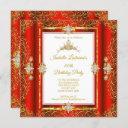 tiara red damask gold white birthday party invitation