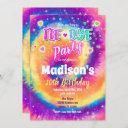 tie dye birthday invitation, hippie birthday invitation