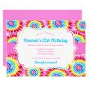 tie dye celebration, pink rainbow birthday invitation