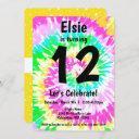tie dye girl birthday party invitation