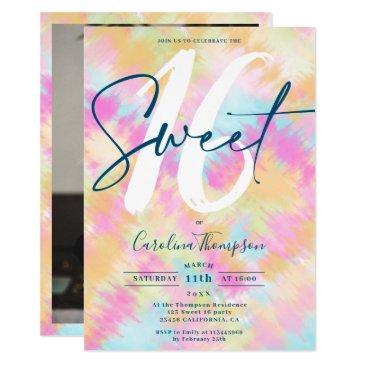 tie dye ikat rainbow pastel font photo sweet 16 invitation