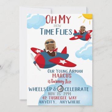 time flies birthday invitation