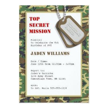 top secret camouflage / camo birthday party invitations