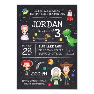 Small Toy Story Chalkboard Birthday Invitation Front View