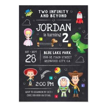 Small Toy Story Chalkboard - Two Infinity And Beyond Invitation Front View