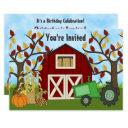 tractor and barn autumn farm birthday invitations