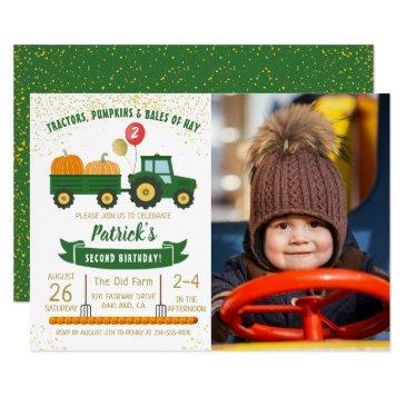 tractor pumpkin fall boy photo birthday invitations