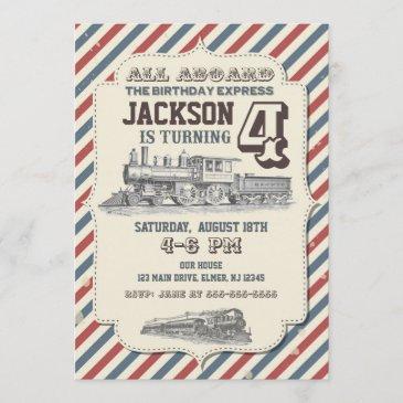 train birthday invitation vintage invites